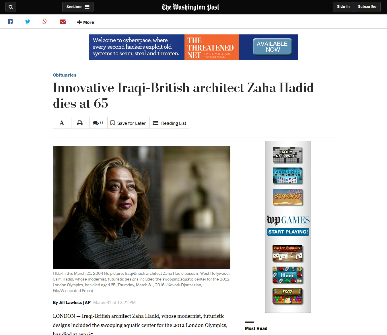 Innovative Iraqi-British architect Zaha Hadid dies at 65 - The Washington Post