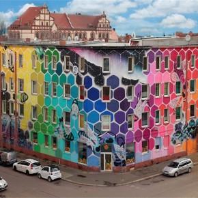 街头艺术家的七彩蜂巢