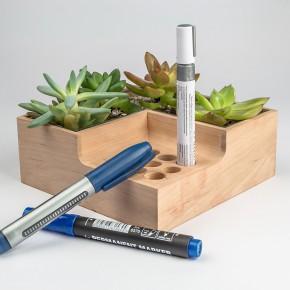 生态桌面收纳:花盆+笔筒