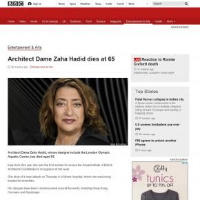 BBC确凿消息:建筑女魔头扎哈·哈迪德愚人节前去世